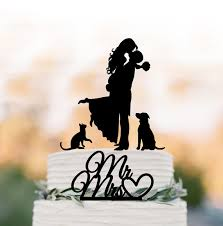 wedding cake topper with dog and cat silhouette by topperdesigner