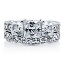 three stone engagement rings sterling silver princess cubic zirconia cz 3 stone engagement