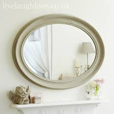 large oval shabby chic mirror antique grey live laugh love