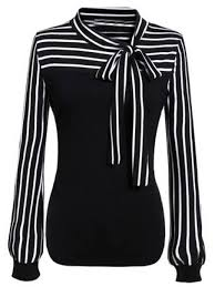 black and white blouse tie neck striped blouse shein sheinside