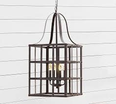 Indoor Lantern Chandelier Rustic Grid Indoor Outdoor Lantern Pottery Barn