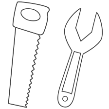 Tools Coloring Page Saw And Wrench Coloring Pages Vitlt Com Tools Coloring Page
