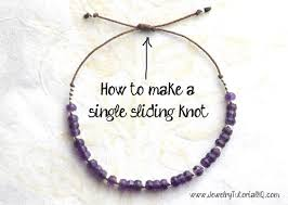 tie knot leather necklace images How to make a single sliding knot adjustable closure for bracelets jpg