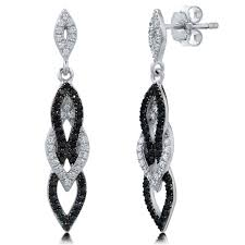 black dangle earrings sterling silver cubic zirconia cz black and white fashion dangle
