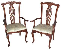 Queen Anne Armchair Pair Of 2 Mahogany Queen Anne Floral Dining Arm Chairs