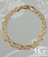colour gold necklace images Fine 9ct three colour gold six plait herringbone bracelet jpg