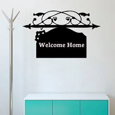 online get cheap welcome sign wall stickers aliexpress com welcome home sign wall sticker black vinyl hollow out home decor self adhesive door wall decals