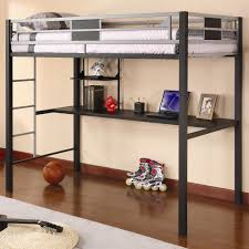 Bunk Bed With Study Table Black Wooden Bunk Bed With Study Table And Silver Of Images
