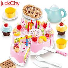 jeux cuisine gateau 54 pcs cuisine en plastique de coupe gâteau d anniversaire jouets