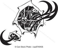biomechanical designs vector illustration tattoo design