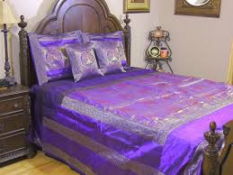 Brocade Duvet Cover Purple Dancing Peacock Brocade Bedding Set 5p Indian Inspired