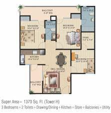 floor plan of ajnara integrity crossing republic ajnara india floor plan of hig 3 bhk drawing dining 2 toi bal