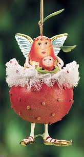 patience brewster pear with cherry ornament