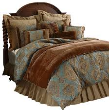 Velvet Comforters King Size Damask Sky Blue Comforter Set Traditional Comforters And
