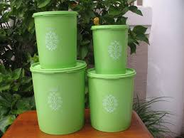 Apple Kitchen Canisters Vintage 4 Piece Tupperware Nesting Decorative Canister Set Lime