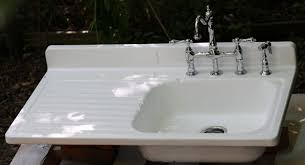 vintage kitchen sink faucets farmhouse kitchen sink with drainboard bar faucet cast iron home