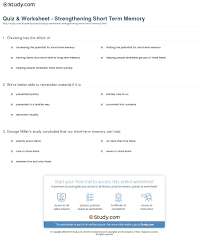 quiz u0026 worksheet strengthening short term memory study com