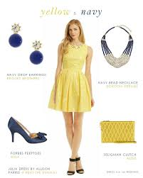 yellow dress for wedding yellow dress with navy accessories