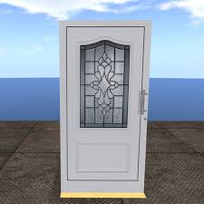 House Door by Second Life Marketplace Scripted Contemporary White Wood And
