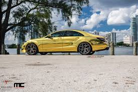 cool wrapped cars mercedes cls 63 amg makes gold wrap and vellano wheels cool