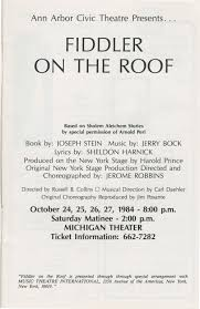 Fiddler On The Roof Synopsis by Ann Arbor Civic Theatre Program Fiddler On The Roof October 24