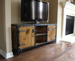 Modern Industrial Furniture by Media Console Constructed Of Steel Wood Rivets And Welded Solid
