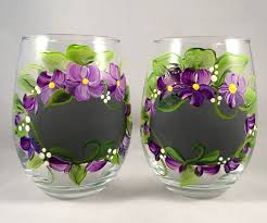 chalkboard and violets hand painted wine gl set of four