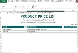 Wholesale Price Sheet Template Product Price List Maker Template For Excel