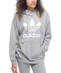 trefoil grey womens hoodie