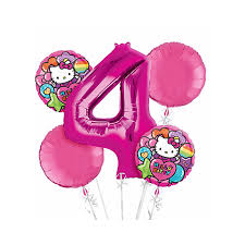 hello balloon delivery hello 4th birthday balloon bouquet 5pc