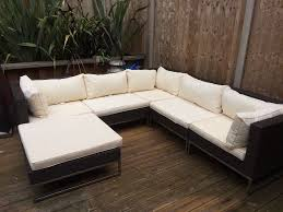 Rattan Table L Lewis Rattan Garden Furniture L Shaped White Cushions In