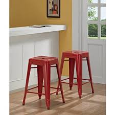 amazon com tabouret 3503 24 24 inch red metal counter stools set