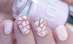and rose gold nails geometric nail design