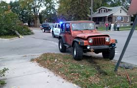 police say no injuries after jeep cuts down tree 94 5 the moose