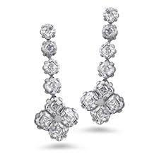 earring diamond platinum asscher cut 6 38 carat diamond drop earrings
