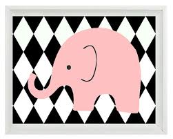 Harlequin Home Decor Elephant Nursery Wall Art Print Black White Pink Decor