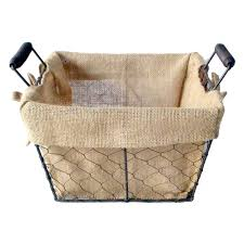 french wire basket with burlap liner at home at home