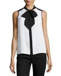 sleeveless tie neck blouse lyst michael kors sleeveless tie neck blouse in black