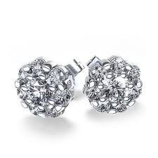 diamonds earrings ctw cluster diamond earrings in 14k white gold