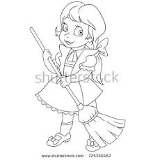 coloring page cartoon young sweeping stock vector 725350462