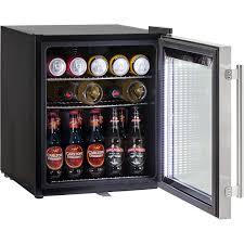 small beer fridge glass door black branded retro compact bar fridge 50 litre