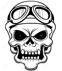 skull motocross helmet vector illustration of skull wearing helmet outline royalty free