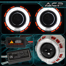 nissan sentra yellow exclamation point headlight retrofit bi xenon dual ccfl halo ring red white for