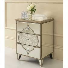 white stained bed side table with three drawer and rounded bedroom stunning 3 drawers moroccan mirrored bedside table