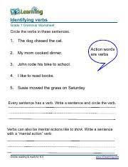 grammar worksheets for grade 1 grammar worksheet grade 1 verbs 3 pdf identifying verbs and