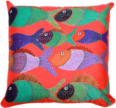 wholesale 18 x 18 inch decorative gond art fish cushion cover