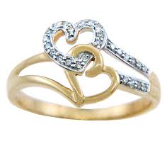 ladies rings pictures images Rings two tone gold joined hearts with diamonds ring jpg