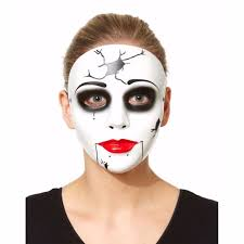 Monster Halloween Costumes White China Doll Cracked Face Monster Halloween Costume Party
