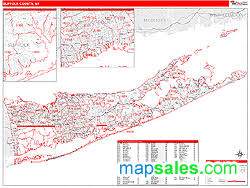 suffolk county map suffolk county ny wall map line style by marketmaps