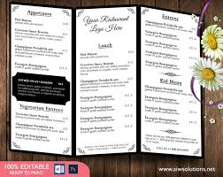 menu publisher template design templates menu templates wedding menu food menu bar